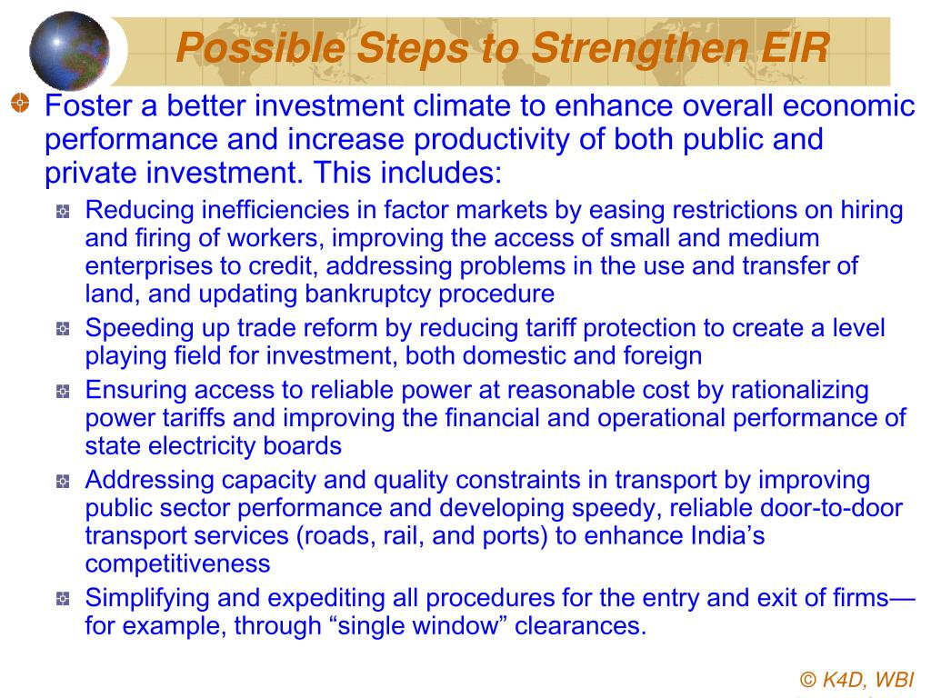 Possible Steps to Strengthen EIR