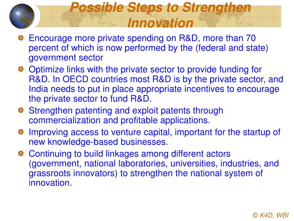 Possible Steps to Strengthen Innovation