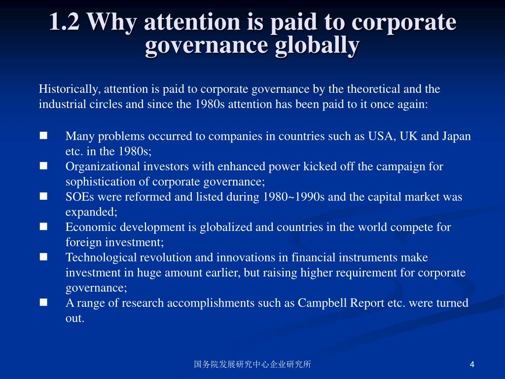 1.2 Why attention is paid to corporate governance globally