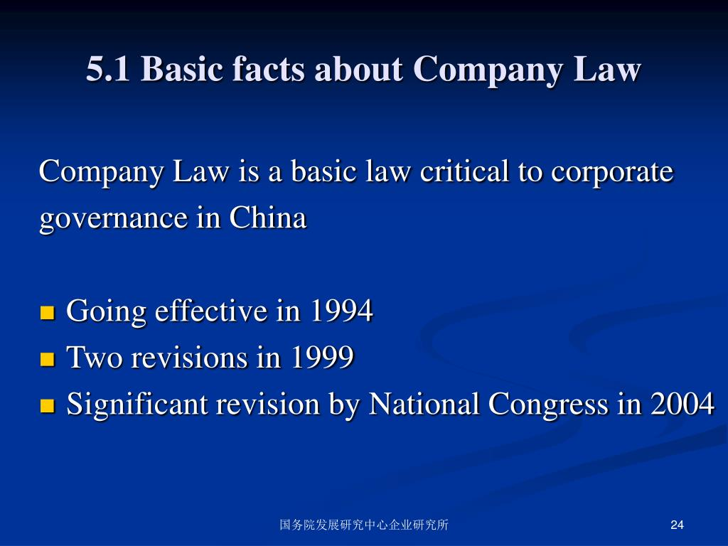 5.1 Basic facts about Company Law