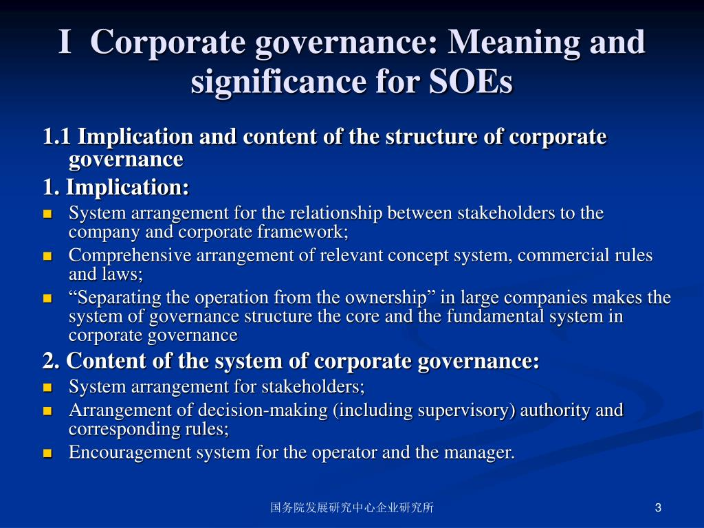 I  Corporate governance: Meaning and significance for SOEs
