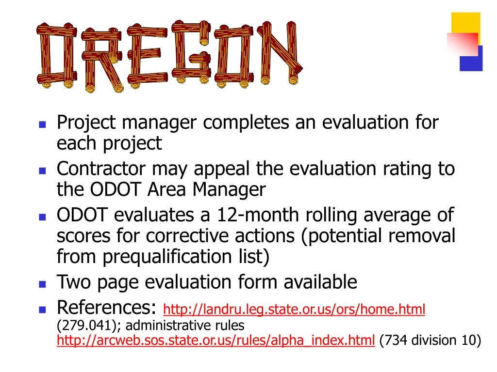 Project manager completes an evaluation for each project
