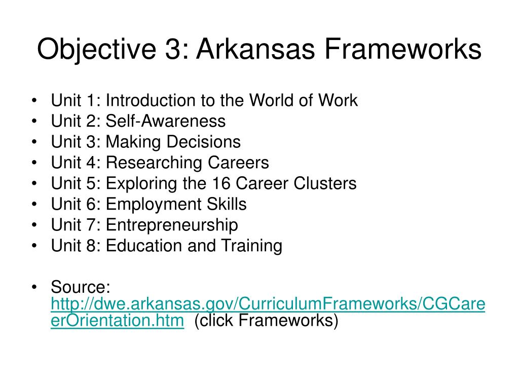 Objective 3: Arkansas Frameworks