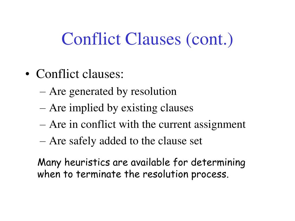 Conflict Clauses (cont.)