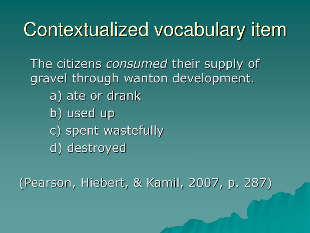 Contextualized vocabulary item