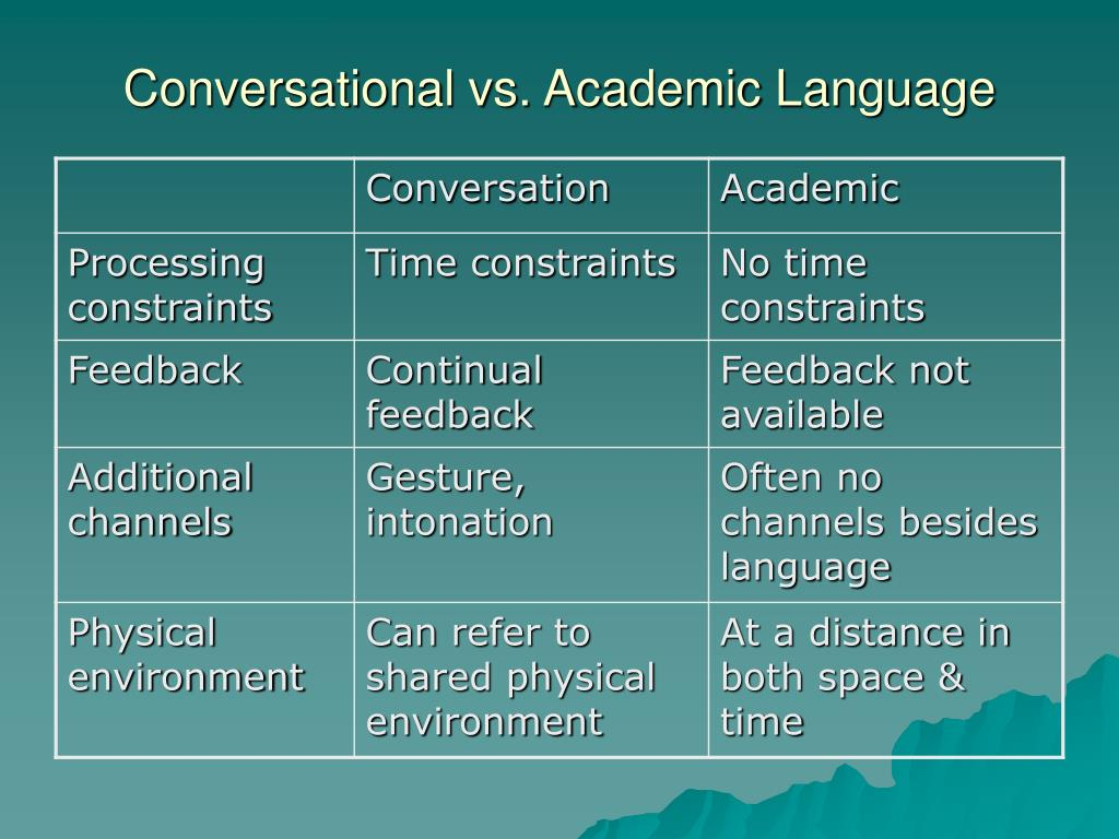 Conversational vs. Academic Language
