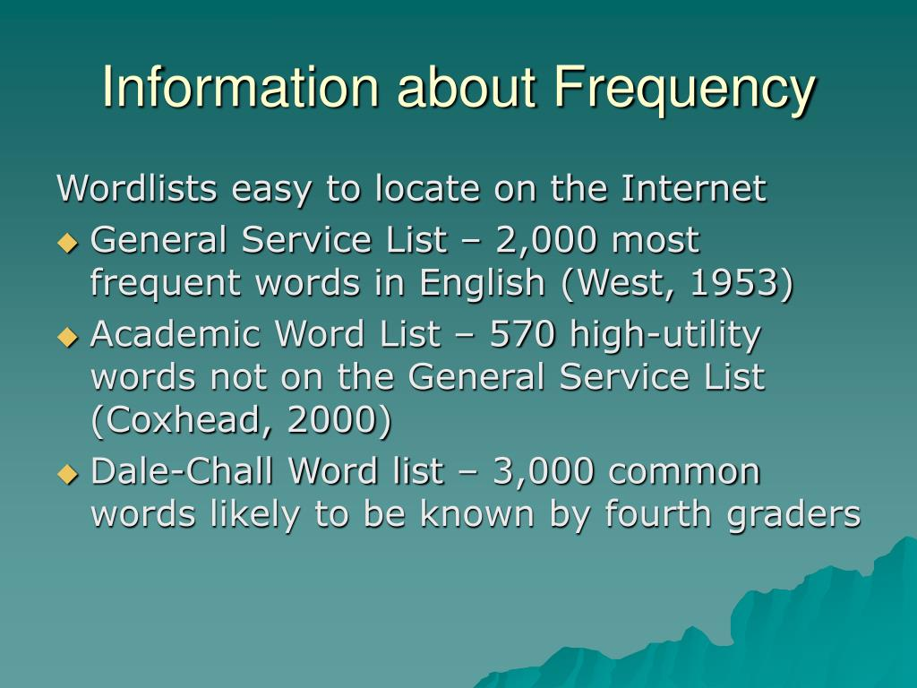 Information about Frequency