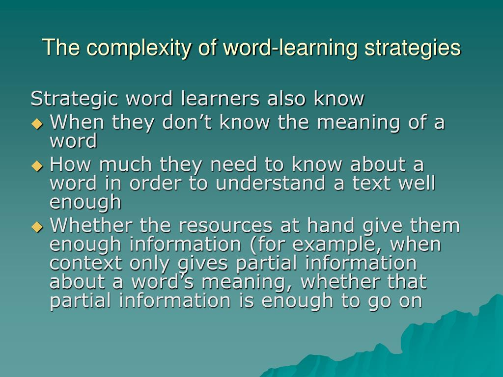 The complexity of word-learning strategies