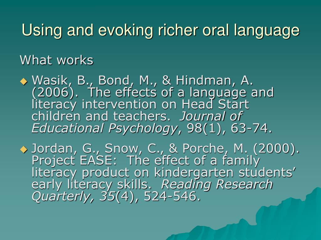 Using and evoking richer oral language