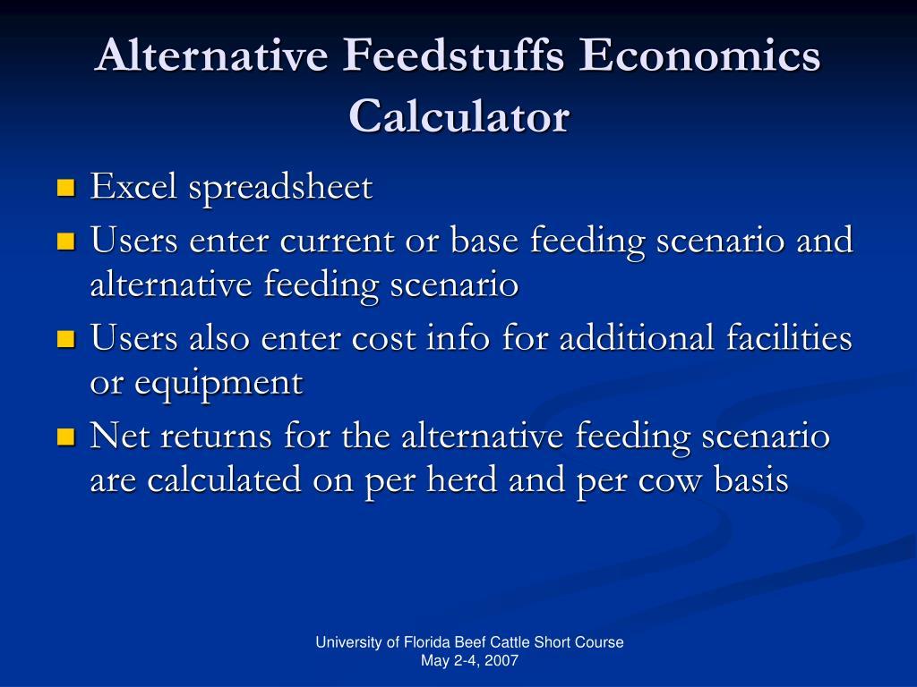 Alternative Feedstuffs Economics Calculator
