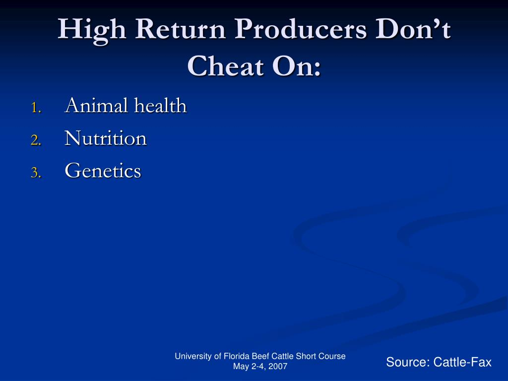High Return Producers Don't Cheat On: