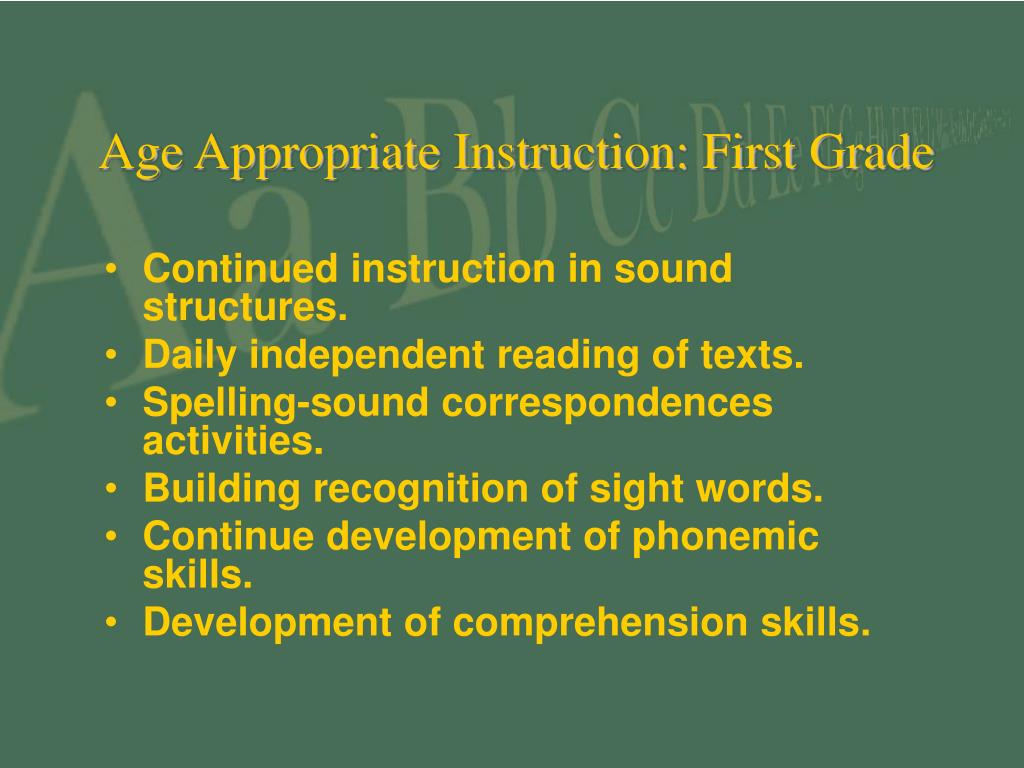 Age Appropriate Instruction: First Grade
