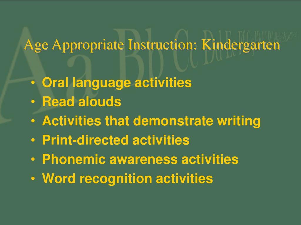 Age Appropriate Instruction: Kindergarten