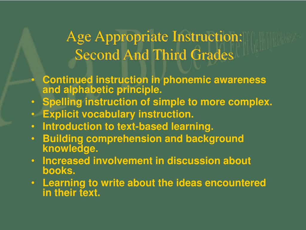 Age Appropriate Instruction: