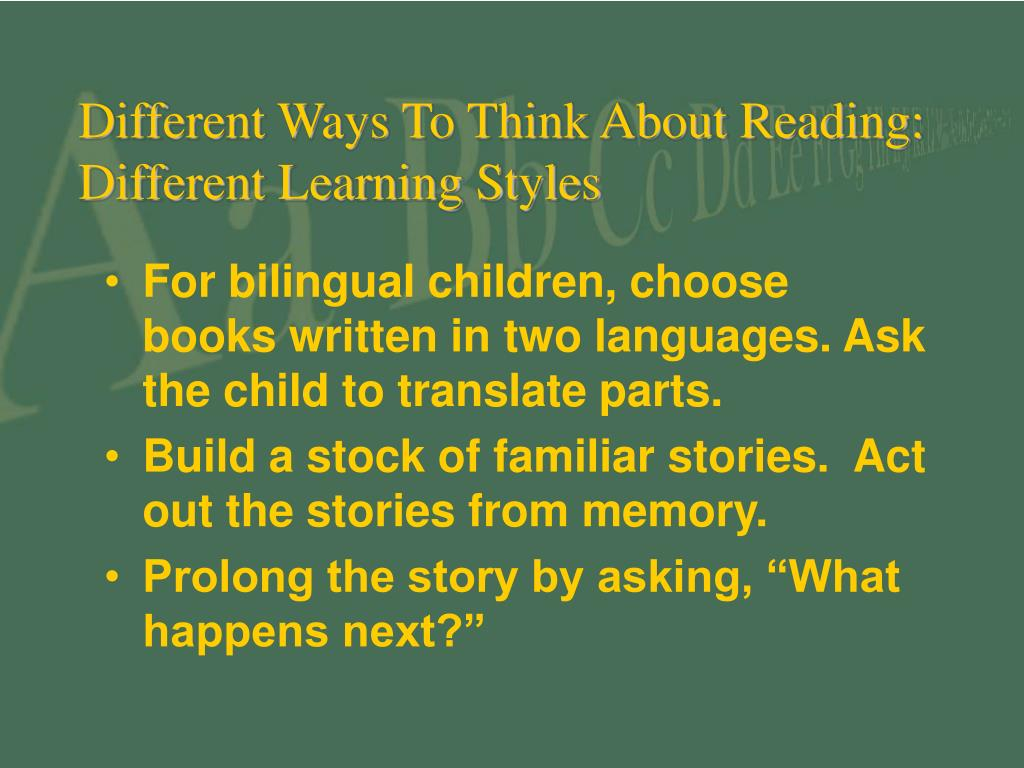 Different Ways To Think About Reading: