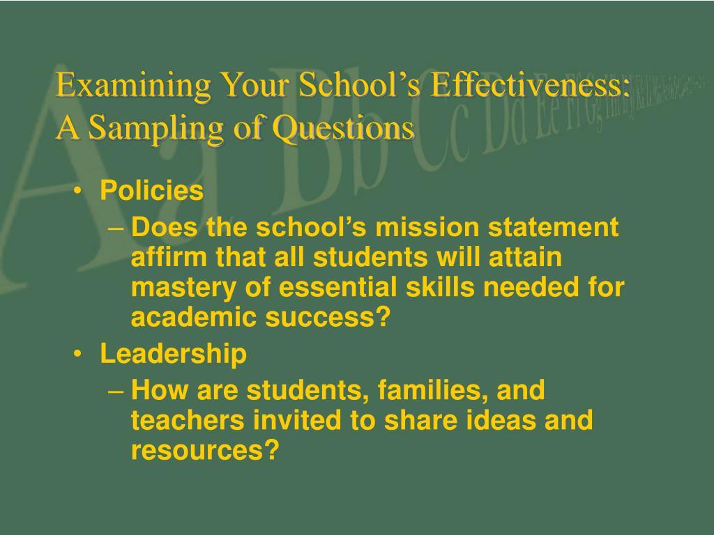 Examining Your School's Effectiveness: