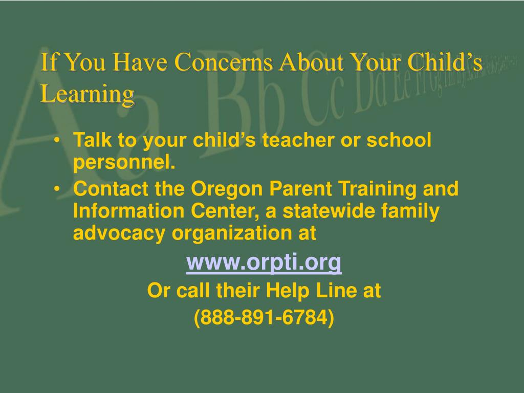 If You Have Concerns About Your Child's Learning
