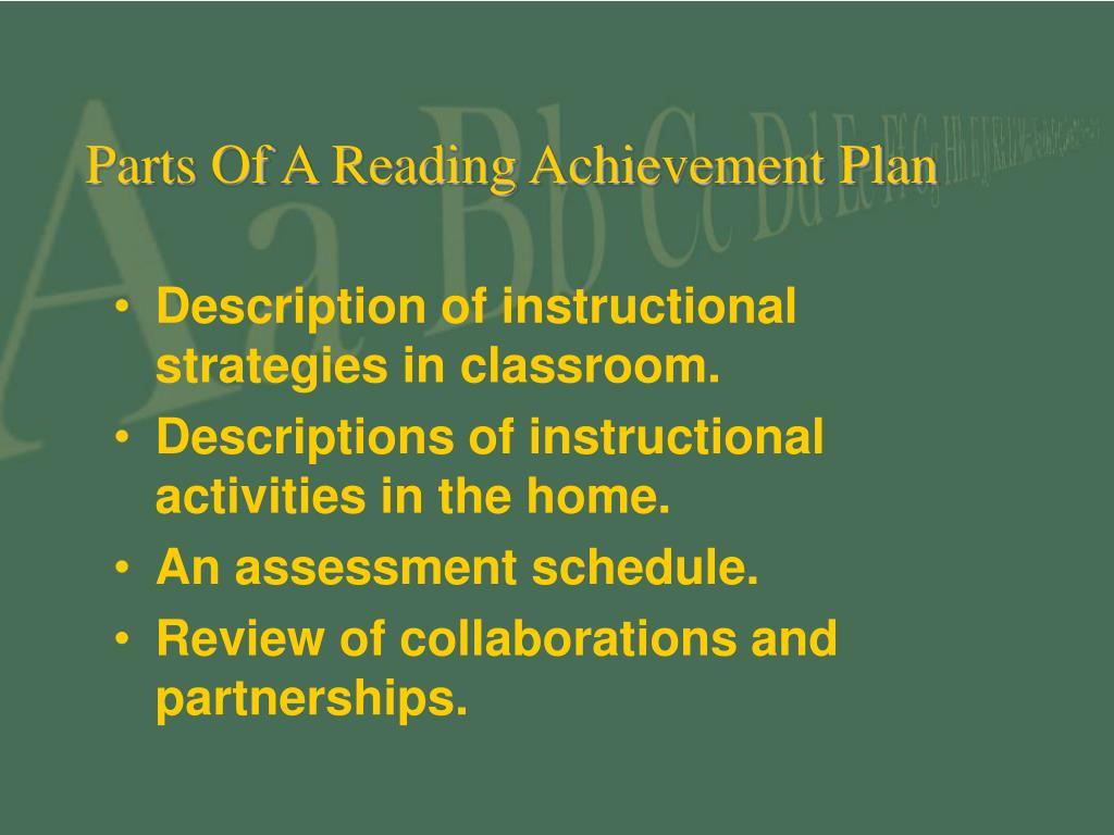 Parts Of A Reading Achievement Plan