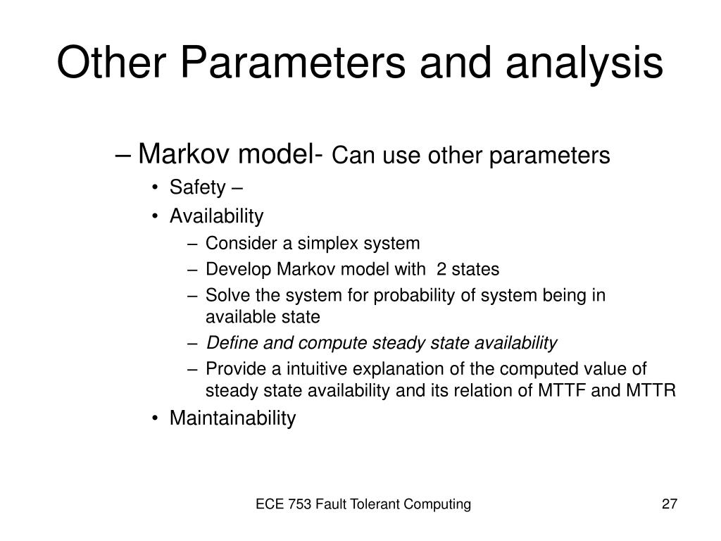 Other Parameters and analysis