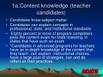 1a content knowledge teacher candidates