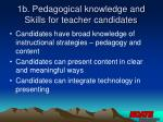 1b pedagogical knowledge and skills for teacher candidates