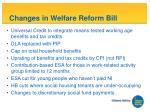 changes in welfare reform bill