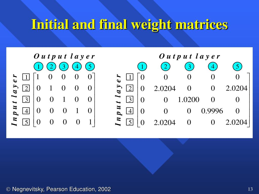 Initial and final weight matrices