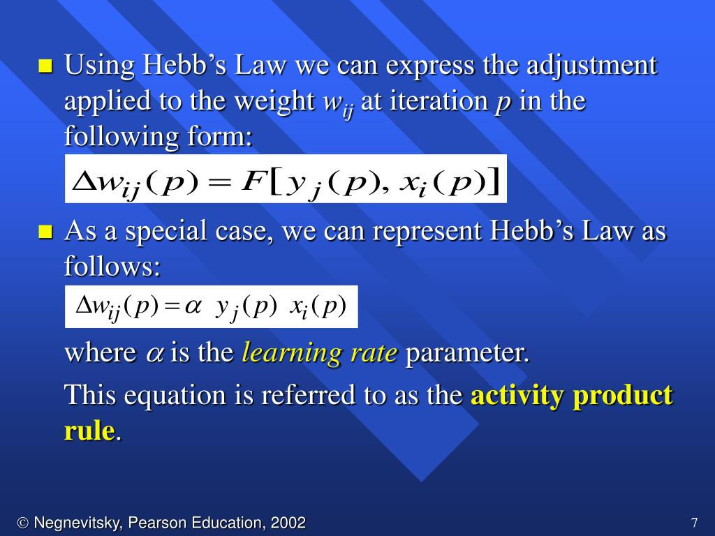 Using Hebb's Law we can express the adjustment applied to the weight