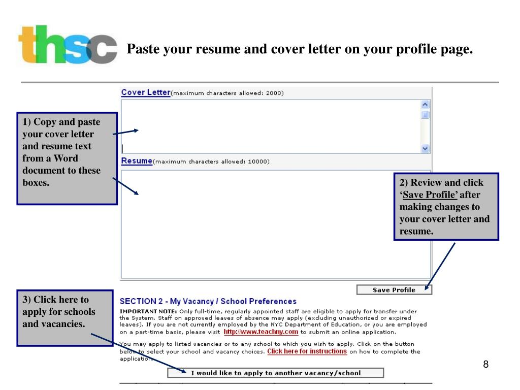 Paste your resume and cover letter on your profile page.