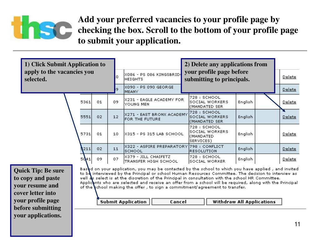 Add your preferred vacancies to your profile page by checking the box. Scroll to the bottom of your profile page to submit your application.
