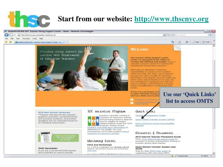 Start from our website http www thscnyc org