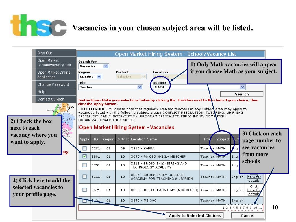 Vacancies in your chosen subject area will be listed.