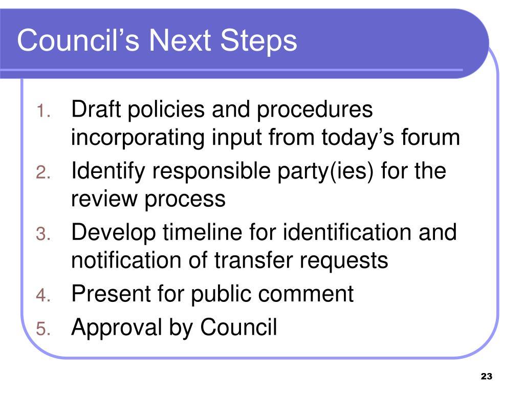 Council's Next Steps