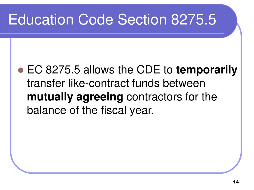 Education Code Section 8275.5