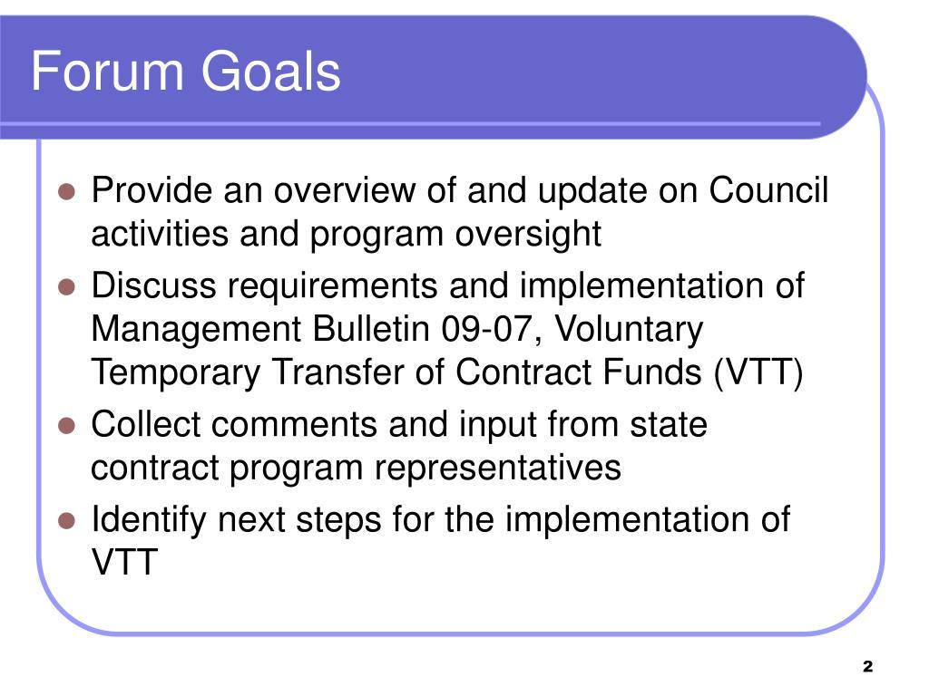 Forum Goals
