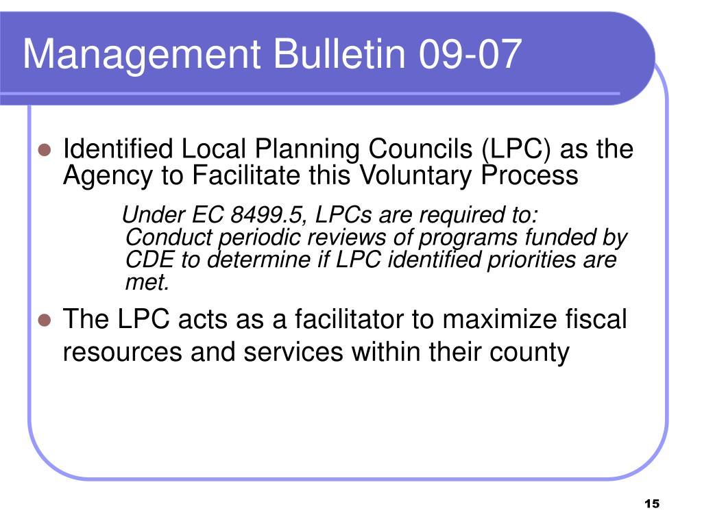 Management Bulletin 09-07