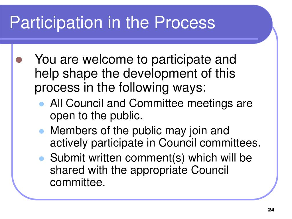 Participation in the Process