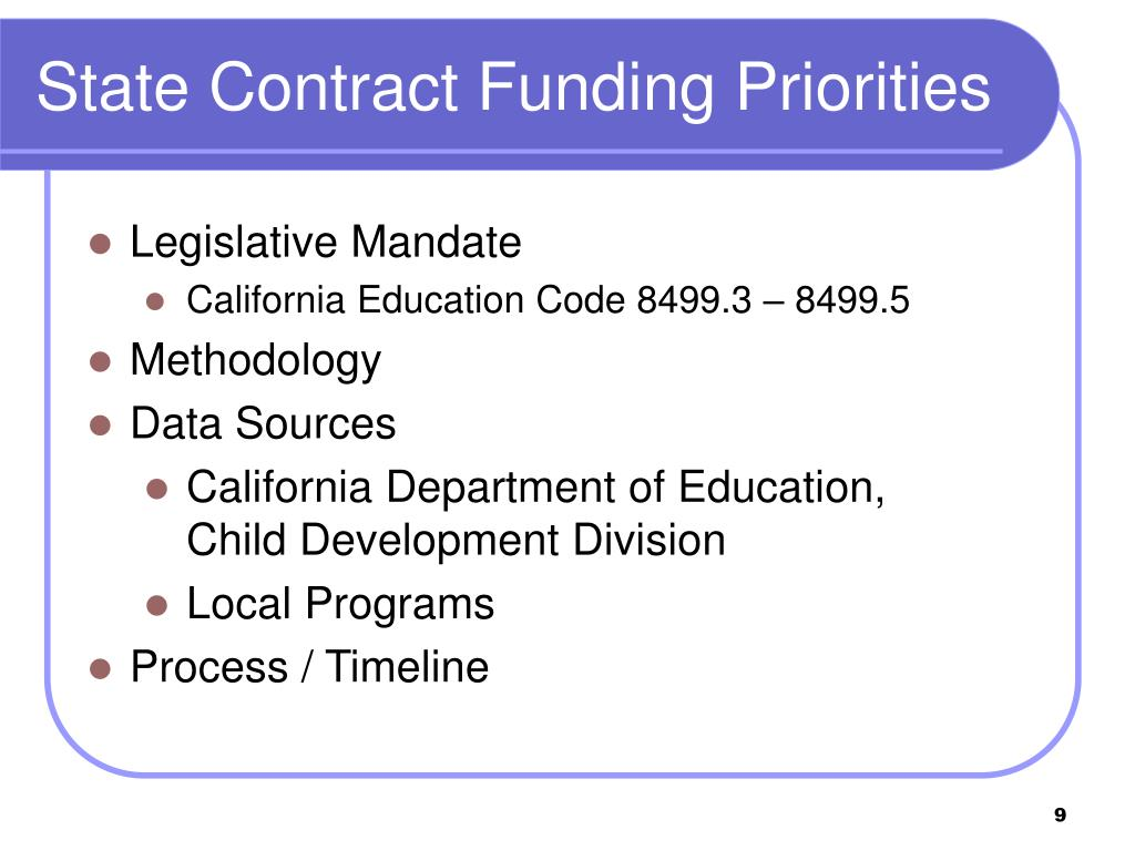 State Contract Funding Priorities