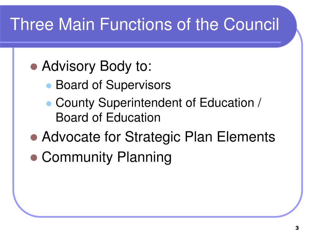 Three Main Functions of the Council