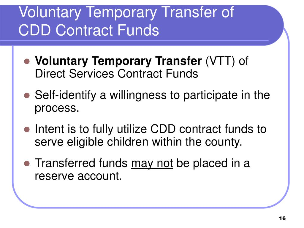 Voluntary Temporary Transfer of CDD Contract Funds