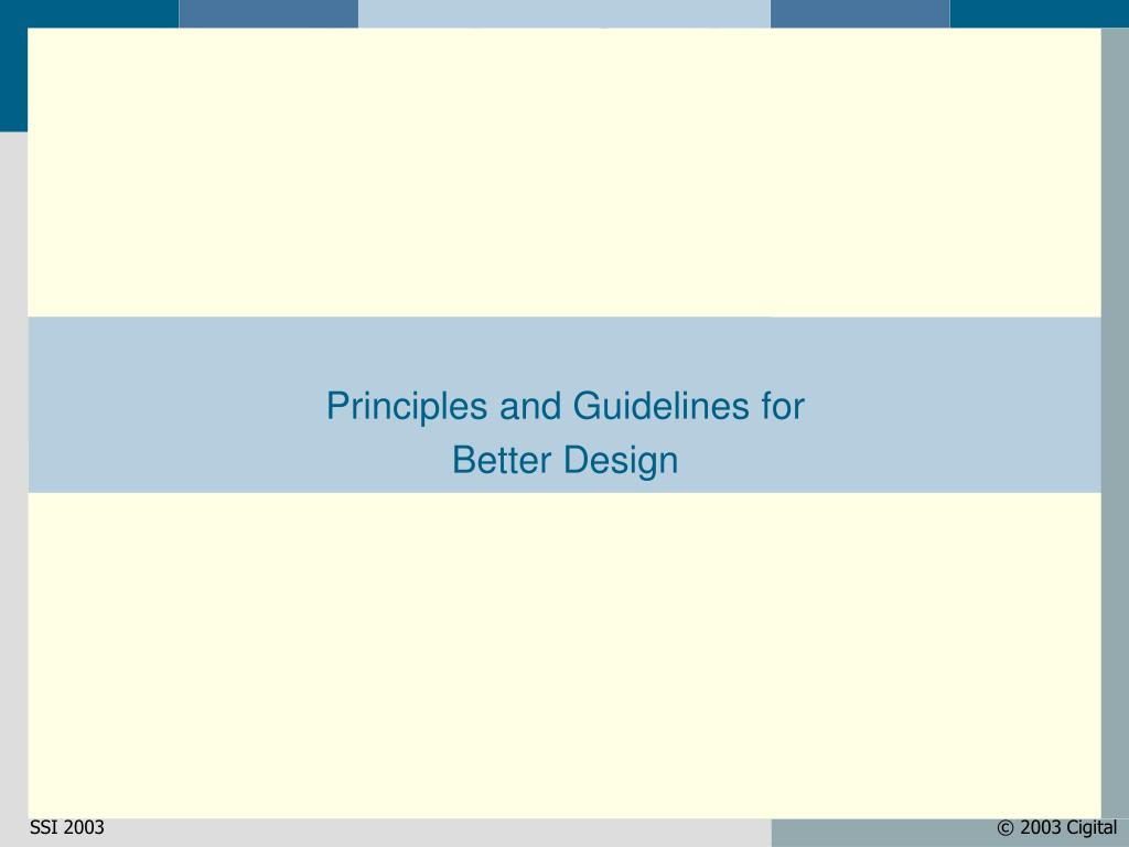 Principles and Guidelines for