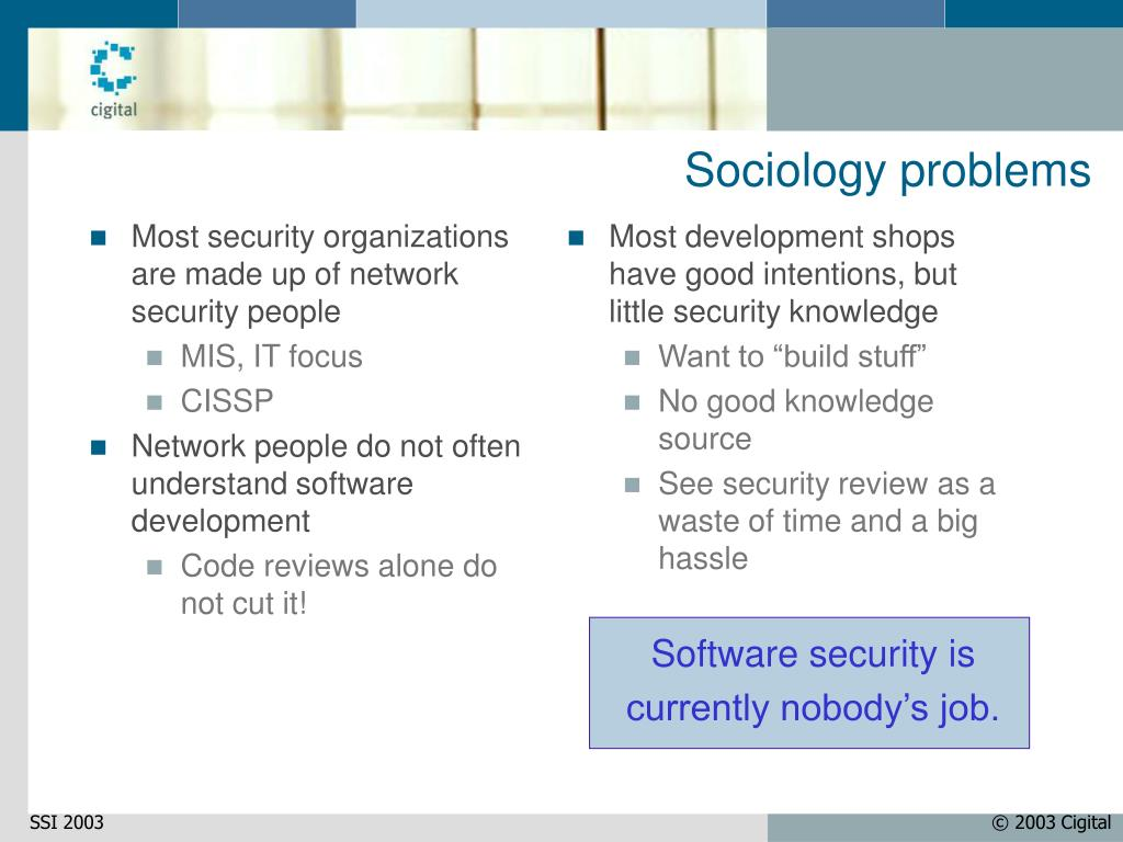 Most security organizations are made up of network security people