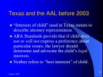 texas and the aal before 2003