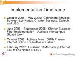 implementation timeframe