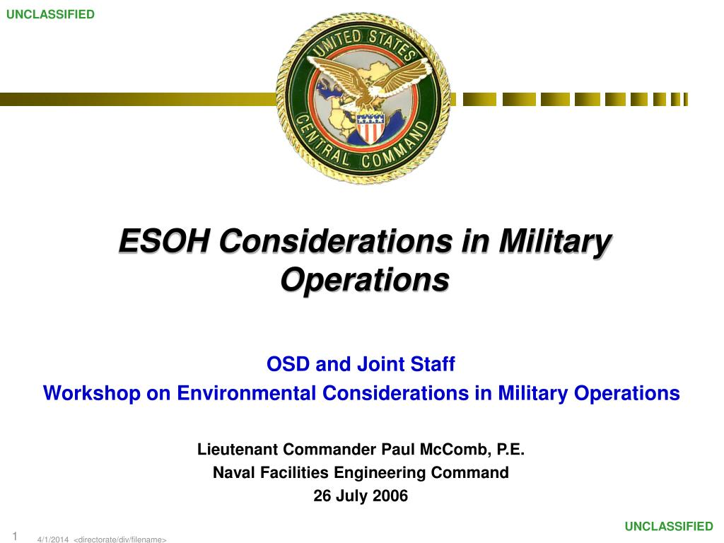 esoh considerations in military operations l.