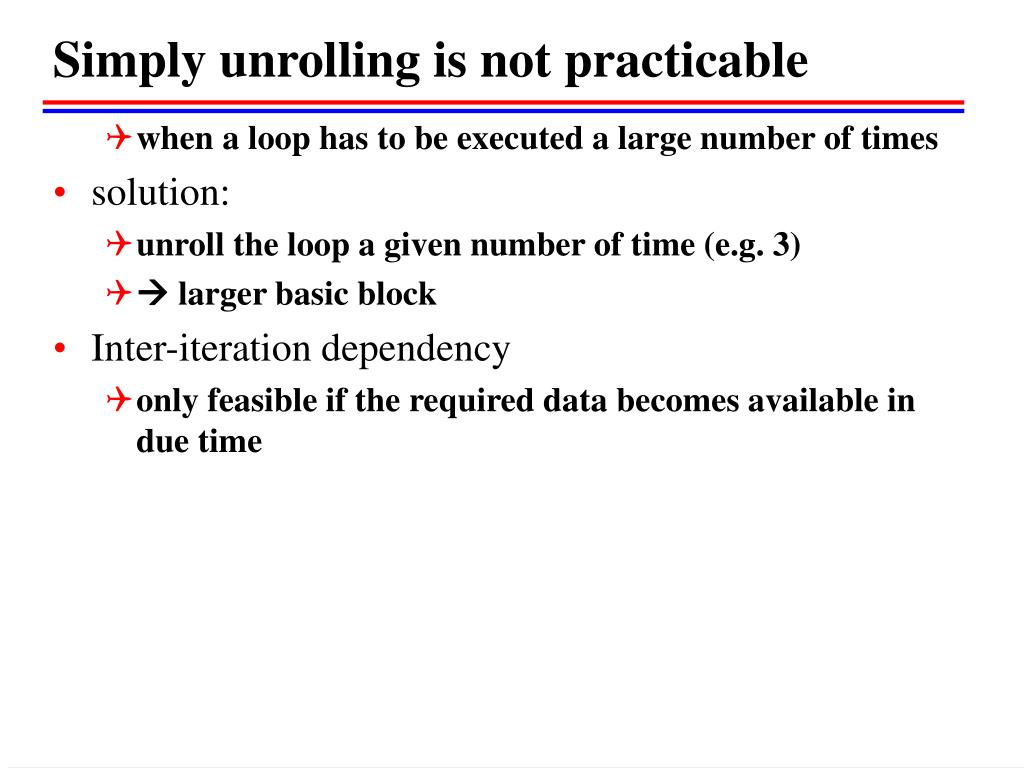 Simply unrolling is not practicable