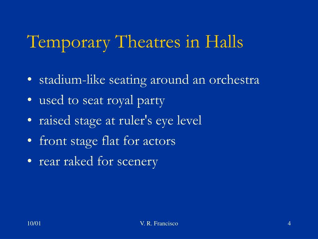 Temporary Theatres in Halls