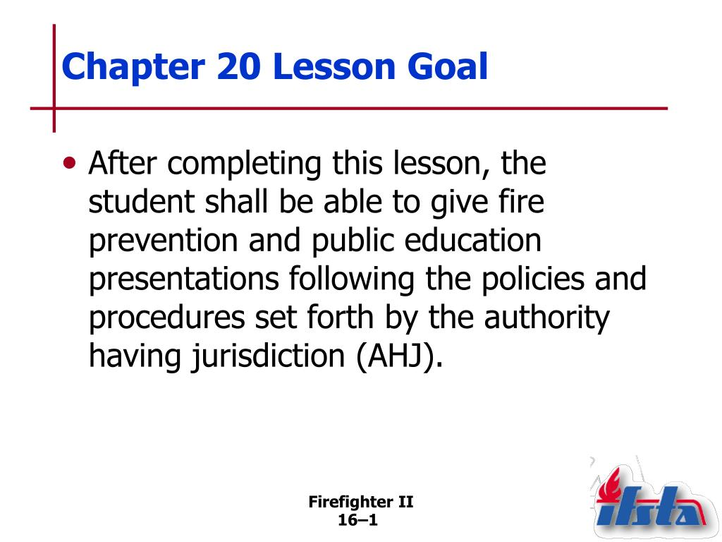 Chapter 20 Lesson Goal