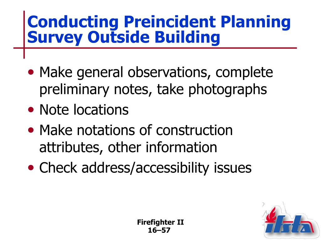 Conducting Preincident Planning Survey Outside Building