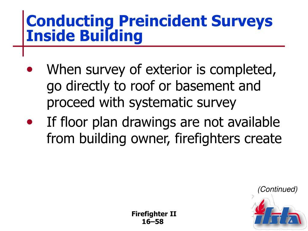 Conducting Preincident Surveys Inside Building